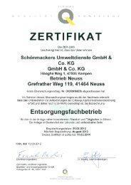 ZERTIFIKAT - Schönmackers Umweltdienste GmbH & Co KG