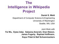 The Intelligence in Wikipedia Project Outline - Computer Science ...