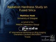 Radiation Hardness Study on Fused Silica - University of Glasgow