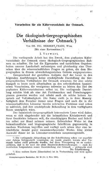Die ökologisch-tiergeographischen Verhältnisse der Ostmark.1)