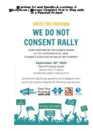 Stay Safe Handbook and Primer for We do not consent Rally 26th September 2020 Trafalgar Square