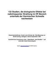 132 Studien, die biologische Effekte bei radiofrequenter Strahlung ...