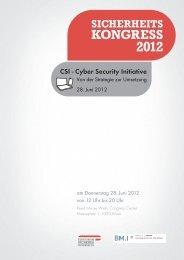 CSI - Cyber Security Initiative - Sicherheitskongress.at