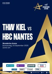 Champions League Hallenheft 24.09.2020 THW Kiel vs. HBC Nantes