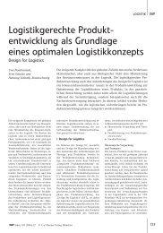 Logistikgerechte Produkt- entwicklung als Grundlage eines ...