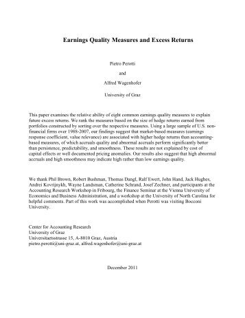 Earnings Quality Measures and Excess Returns - European ...