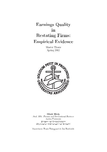 Earnings Quality in Restating Firms: Empirical Evidence - PURE