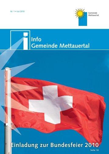 Info Gemeinde Mettauertal Einladung zur Bundesfeier 2010
