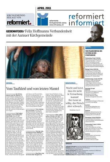 GEDENKFEIER/ Felix hoffmanns verbundenheit mit der ... - Ref-aarau
