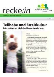 recke:in - Das Magazin der Graf Recke Stiftung Ausgabe 1/2012