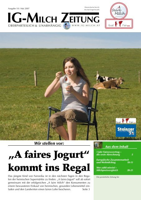 """A faires Jogurt"" kommt ins Regal - IG-Milch"