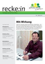 recke:in - Das Magazin der Graf Recke Stiftung Ausgabe 1/2011