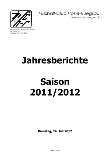 Jahresberichte Saison 2011/2012 - FC Hasle-Rüegsau