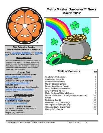 Metro Master Gardener™ News March 2012 - Metro Master Gardeners