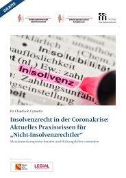 """Insolvenzrecht in der Coronakrise: Aktuelles Praxiswissen für """"Nicht-Insolvenzrechtler"""""""