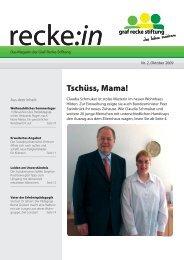 recke:in - Das Magazin der Graf Recke Stiftung Ausgabe 2/2009