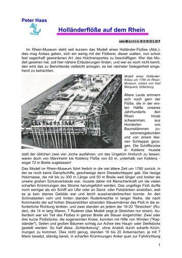 Peter Haas Holländerflöße auf dem Rhein