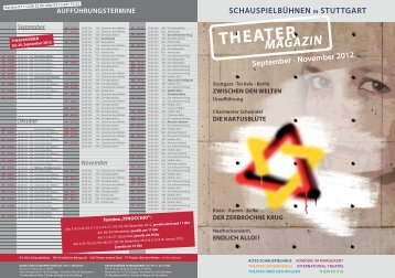 September - November 2012 THEATER MAGAZIN Stuttgart - Tel Aviv