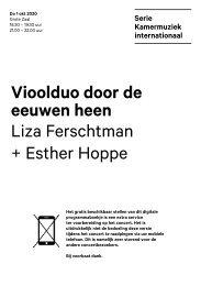 2020 10 01 Vioolduo door de eeuwen heen - Liza Ferschtman + Esther Hoppe