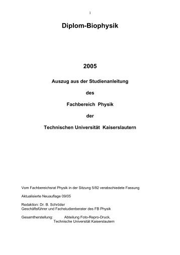 Diplom-Biophysik - Fachbereich Physik der Universität Kaiserslautern