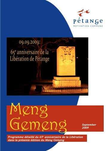 September 2009 Programme détaillé du 65e anniversaire ... - Pétange