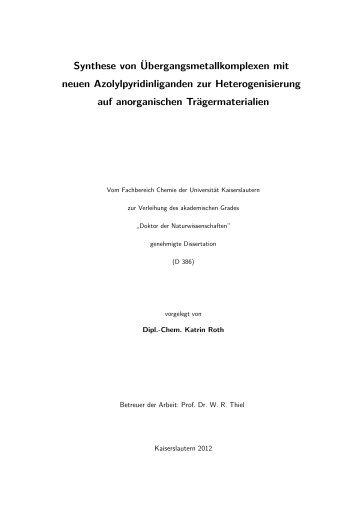 Synthese von Übergangsmetallkomplexen mit neuen ...