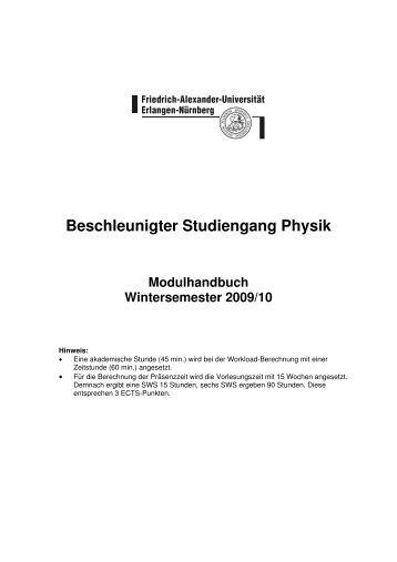 Beschleunigter Studiengang Physik Modulhandbuch ...