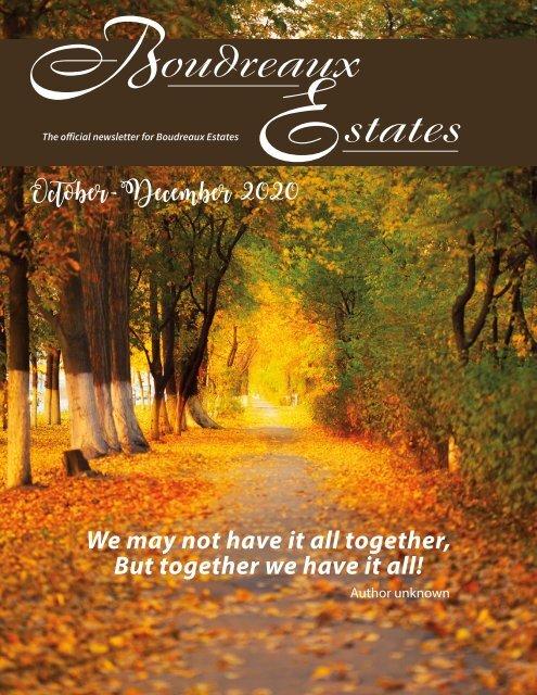 Boudreaux Estates October 2020