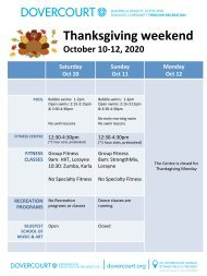 Dovercourt Thanksgiving 2020 schedule