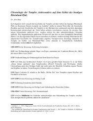 Chronologie der Templer, insbesondere auf dem Gebiet des ...
