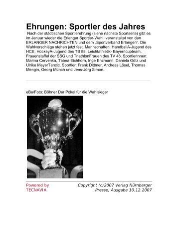 Ehrungen: Sportler des Jahres - TV 1848 Erlangen