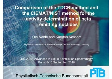 Comparison of the TDCR method and the CIEMAT/NIST method for ...
