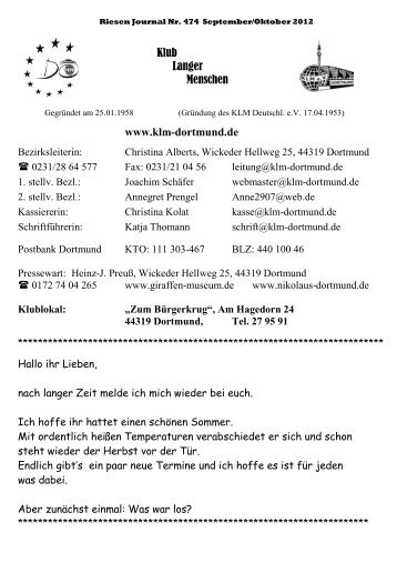 Riesenjournal Nr 474 September/Oktober 2012 - KLM Dortmund