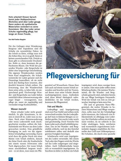 Pflegeversicherung für Schuhe