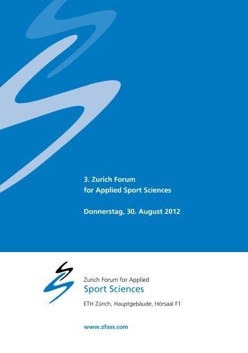 3. Zurich Forum for Applied Sport Sciences Donnerstag, 30 ... - SART