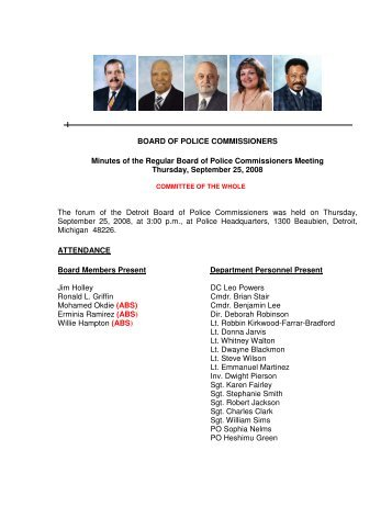 BOARD OF POLICE COMMISSIONERS Minutes of ... - City of Detroit