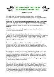 HILFERUF FÜR TIBETISCHE SCHULMÄDCHEN IN TIBET