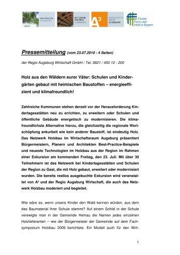 Pressemitteilung (vom 23.07.2010 - 4 Seiten) - im Wirtschaftsraum ...