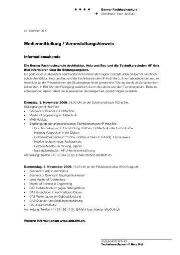 Medienmitteilung / Veranstaltungshinweis - Hochschule für ...