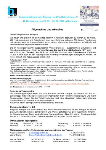 Allgemeines und Aktuelles - Bundesarbeitskreis der Seminar