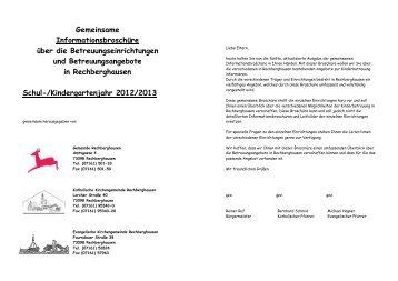 Informationsbroschüre Kinderbetreuung - Gemeinde Rechberghausen