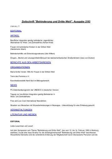 """Zeitschrift """"Behinderung und Dritte Welt"""", Ausgabe 2/93"""