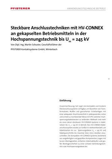Steckbare Anschlusstechniken mit HV-CONNEX an ... - Pfisterer