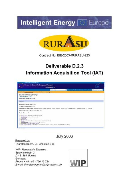 Deliverable D 2 3 Information Acquisition Tool (IAT) - RURASU