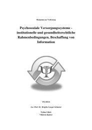 Psychosoziale Versorgungssysteme - institutionelle und ...