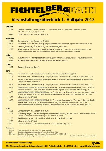 Veranstaltungsplan Fichtelbergbahn