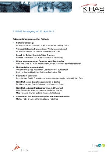 Energieversorgungssicherheit - KIRAS Sicherheitsforschung