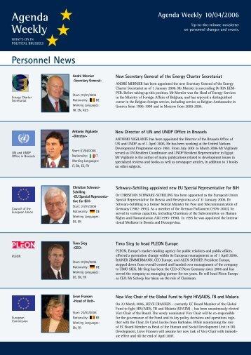 Agenda Weekly 10/04/2006 - European Agenda