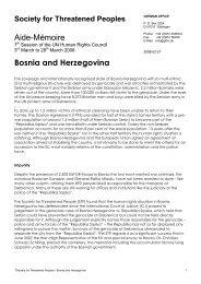 Aide-Mémoire Bosnia and Herzegovina - Forum Menschenrechte