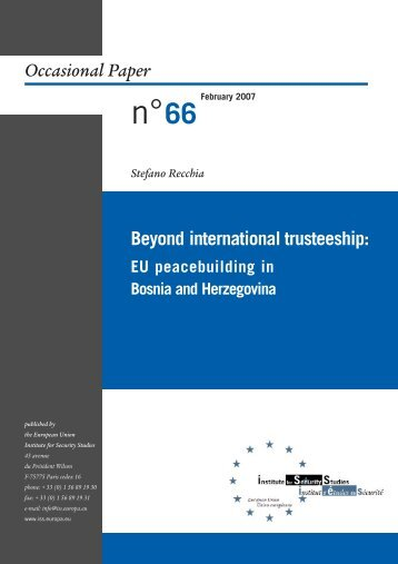 Beyond international trusteeship - European Union Institute for ...